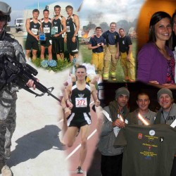 Starting far left and moving clockwise. Warhawk track and field runner Brian Butzler poses for the camera in combat fatigues while in Afghanistan. Butzler, along with Joey Boberschmidt, Alek Konopacki and Eric Keen, celebrate after winning the distance medley relay at Drake University in 2007. Butzler and mates during firefighter training. Butzler along with his fiance, Ashley Pick. Butzler and his friends after a race in Afghanistan. Butzler looks to finish strong at the end of a race. Photo Illustration by Tim Gumz