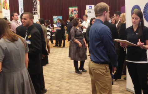Students meet recruiters at career fair