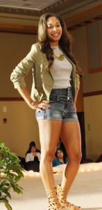 Army green jackets over high-waisted jean shorts, a statement necklace and ankle gladiator sandals don the Whitewater spring runway.