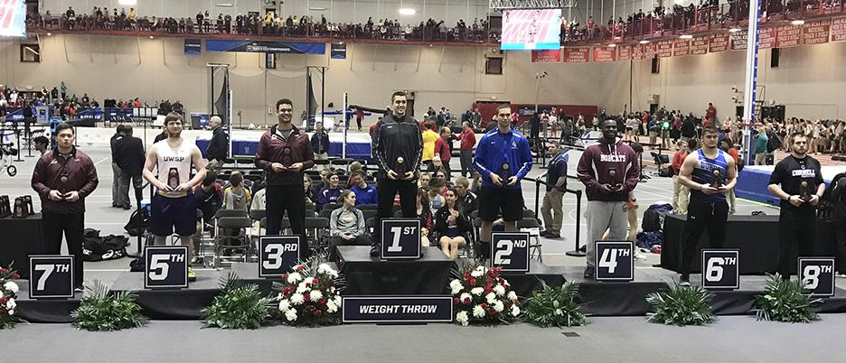 Senior Levi Perry stands atop the podium after winning the indoor weight throw national title on March 11 in Naperville, Illinois in the 2017 NCAA Indoor Track and Field Championships. Perry was the first UW-W champion in the event since 2004 when he threw a career best distance. Photo submitted