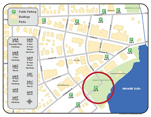 This map shows the area where the potluck will be held, near the Whitewater Historic Train Depot, located at 301 W Whitewater St. Several available parking locations also are marked.