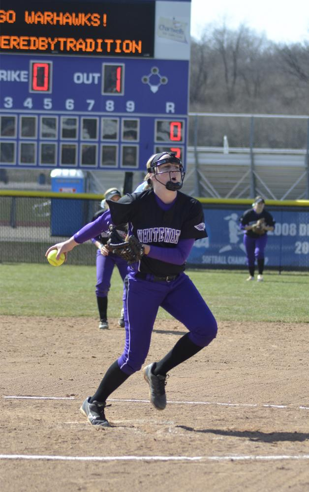 Freshman pitcher Bella Matthias winds up for a pitch in a game earlier this year. Matthias threw her second no-hitter of the season in the 8-0 vs. the UW-Stout Blue Devils on April 29. Photo by Sierra High