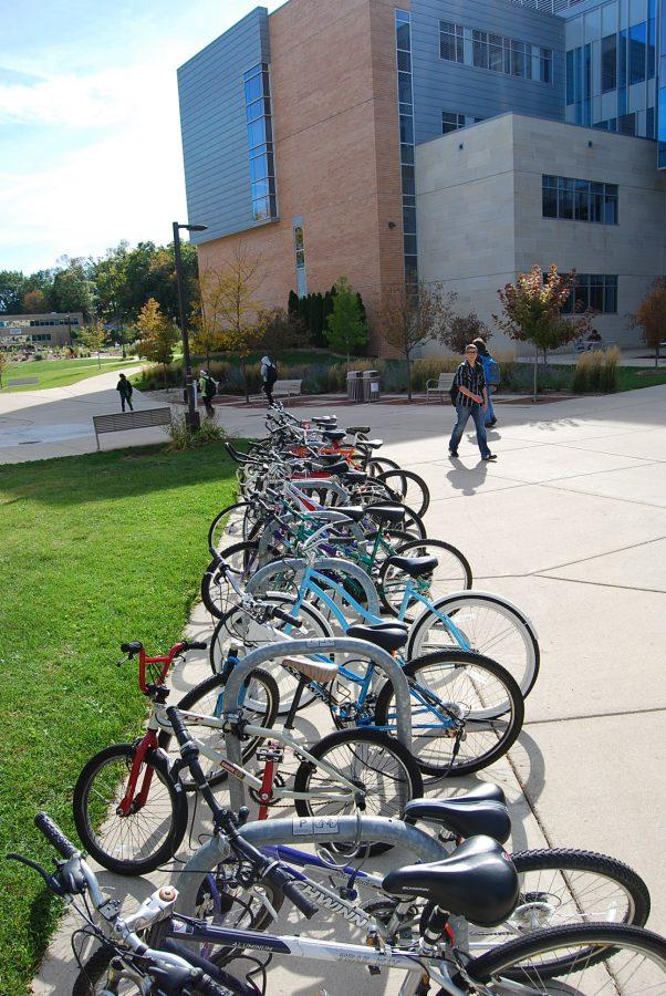 Students who ride their bikes to Hyland Hall and Upham Hall can feel more secure leaving their bikes on campus. Due new technology including a tracking system for 'bait bikes,' bike theft is down almost 70 percent.