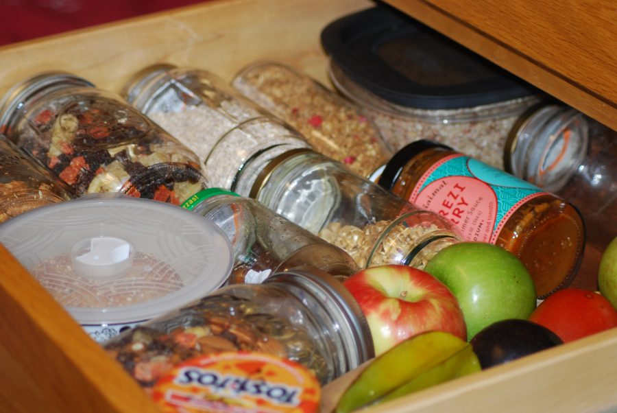 Steiner uses recycled glass food containers.  Vesna Brajkovic photo/ BrajkoviVA04@uww.edu