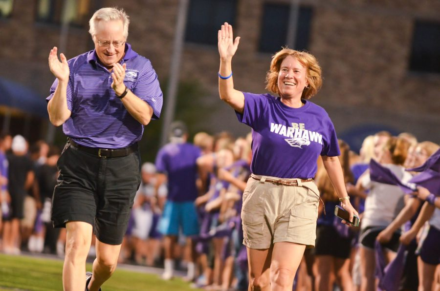 UW-Whitewater Chancellor Beverly Kopper and interim provost John Stone run through Perkins Stadium before students. Incoming freshman found themselves being swept up into their welcome activities after their arrival on campus on Sunday, August 30. Club U Dub Dub got students interacting with their peers and made them a part of the