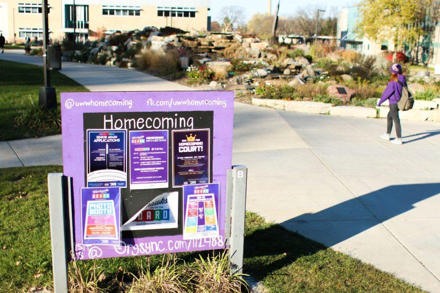 The advertising kiosk shown above wouldn't be permitted to stay there in its current place if the water feature buffer is put into place by the Campus Landscape and Planning Committee. The buffer is currently being proposed at 50 feet. Photo by Kimberly Wethal.