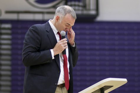 UW-W swim and dive head coach Joel Rollings breaks down while talking about Spencer Twining. Photos by Kimberly Wethal