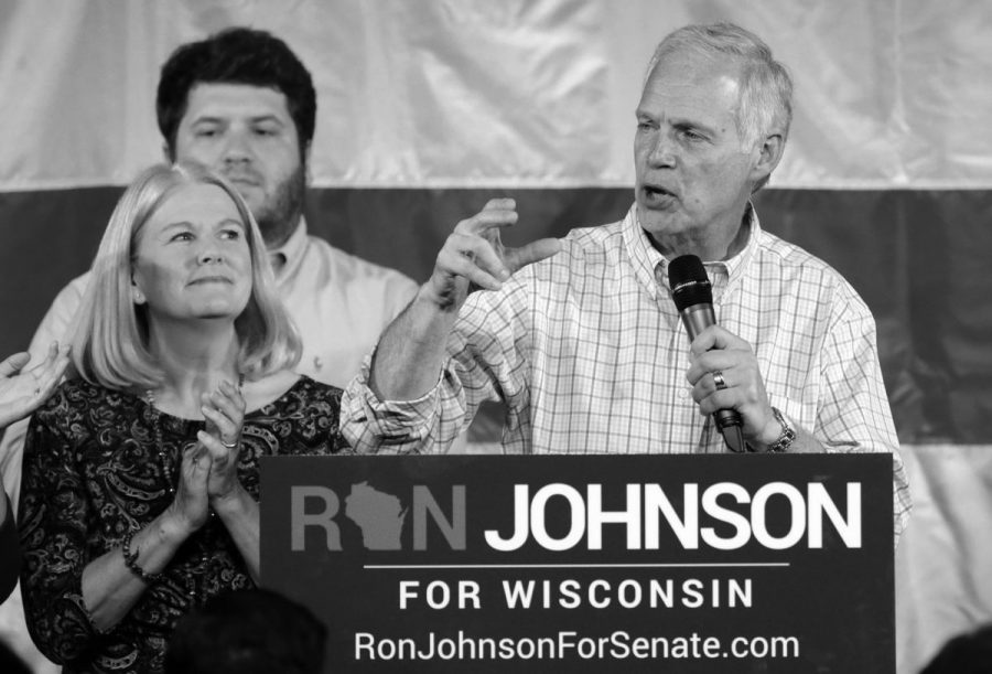 Ron Johnson speaks about his victory at his business in Oshkosh. Johnson pulled ahead of Feingold in the majority of 72 counties.