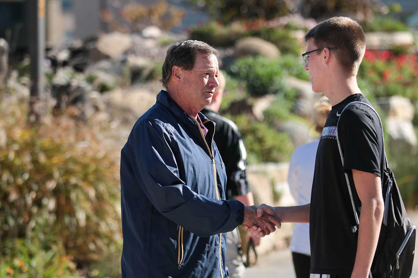 43rd District candidate Don Vruwink greets students on campus and urges them to vote for him in the local elections on Nov. 8. Vruwink defeated his opponent Allison Hetz, a University of Wisconsin-Whitewater Alumni