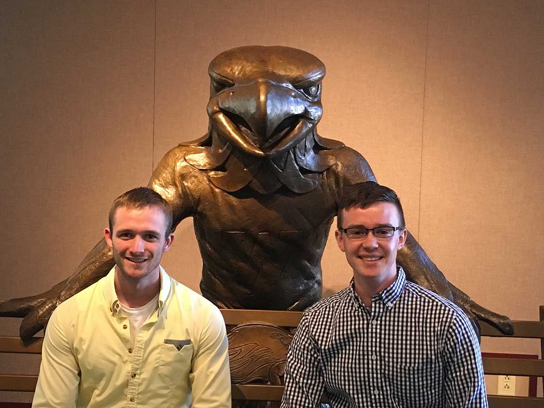 Front Left: Newly sworn-in Whitewater Student Government President Kane Poad takes a moment to pose with the recently sowrn-in Vice President Thomas Kind. The two students were sworn in on Monday, Nov. 7.
