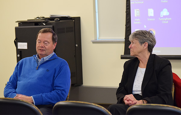 Sen. Janis Ringhand listens to Rep. Don Vruwink's take on segregated fees and the impact on universities. Sen. Ringhand and Vruwink held two other sessions in downtown Whitewater to hear student and community voices.