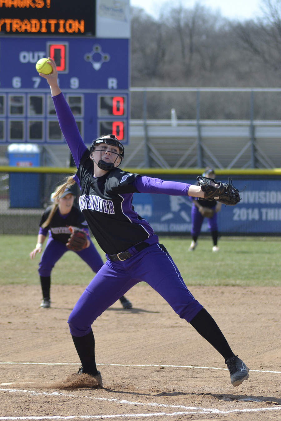 Freshman pitcher Bella Matthias pitched a complete game shutout victory against UW-La Crosse on April 1. Matthias owns a 5-3 record with 50 strikeouts in 52.2 innings for a 1.99 ERA. Photo by Sierra High