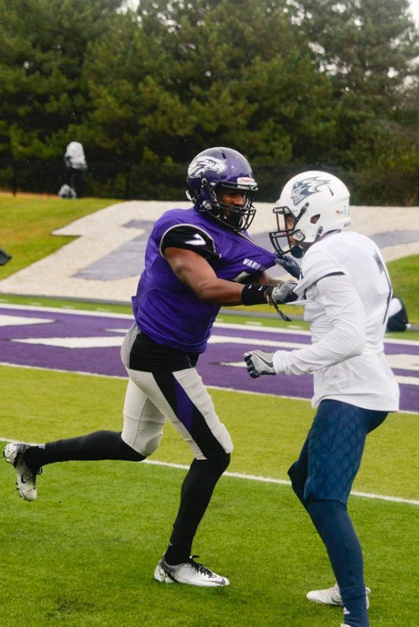 On a rainy afternoon the UW-Whitewater football team defeated the 23rdranked UW-Stout Blue Devils 14-0 in the Warhawks home opener.