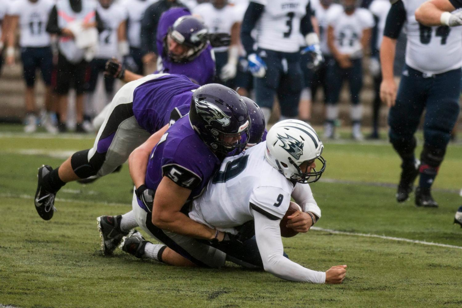 On a rainy afternoon the UW-Whitewater football team defeated the 23rd ranked UW-Stout Blue Devils 14-0 in the Warhawks home opener.