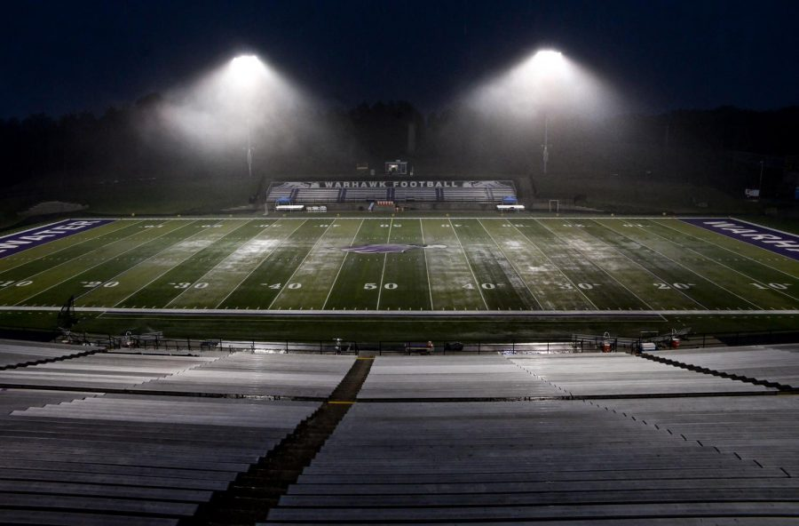 The game on Friday was delayed due to a strong rain storm passing through the area.