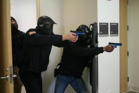 UW-W Police Services conducted active shooter training in January, as shown in this January photo. Further training sessions were held in early March