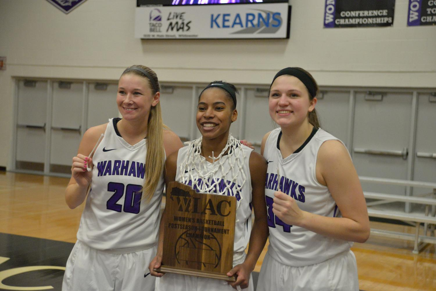 The senior trio of Brooke Trewyn, Malia Smith and Andrea Meinert (left-to-right) were all named first-team All-WIAC for the women's basketball team.