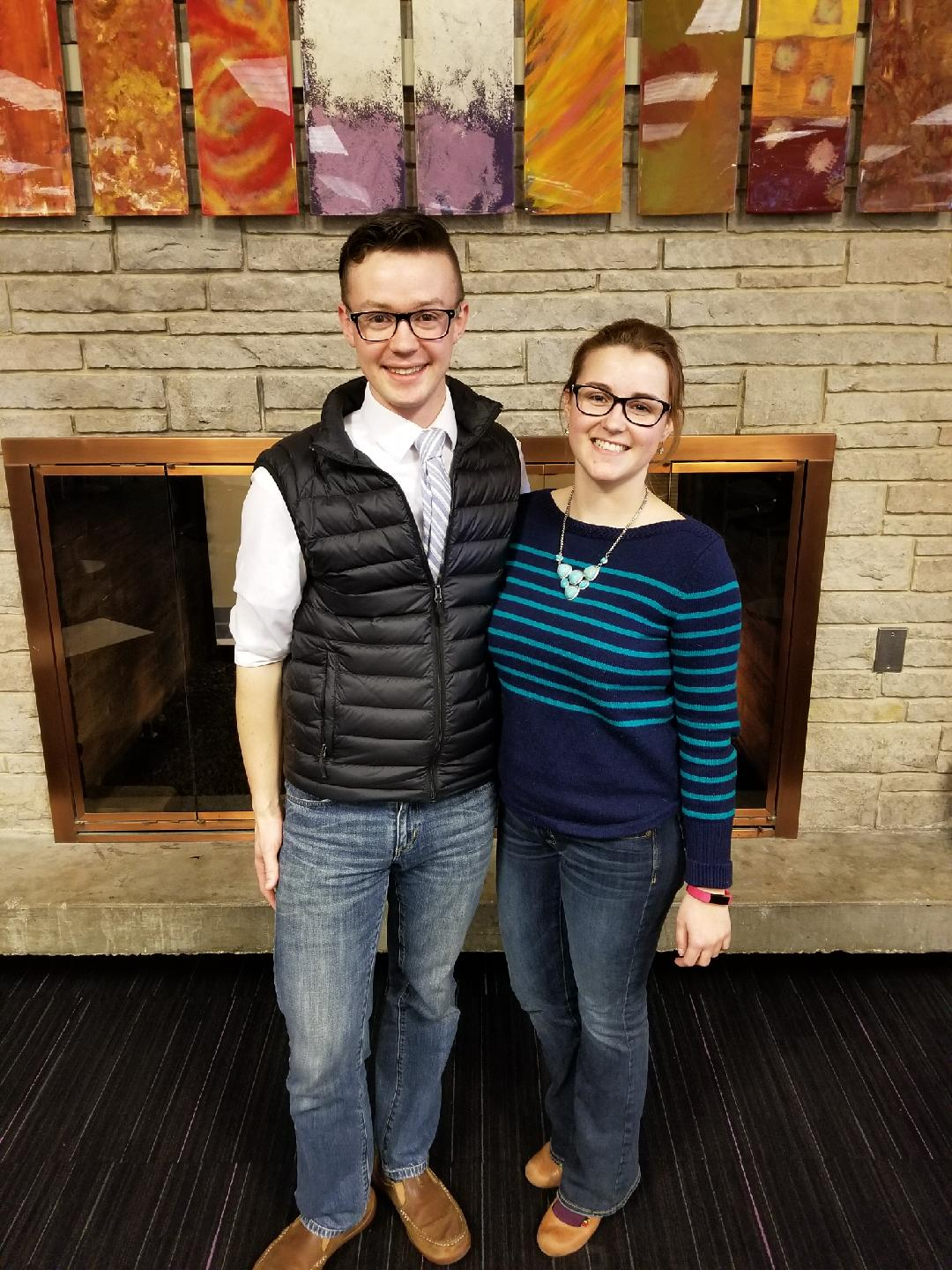 Current student body president Tom Kind, left, with his vice-presidential candidate Zoe Miller.