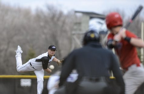 Senior Heath Renz posted a 0.82 ERA in two appearances during the team's spring trip. This photo shows Renz during the Warhawks' March 30 game against Ripon College, which was not completed by press time at 4:30 on Friday, March 30.