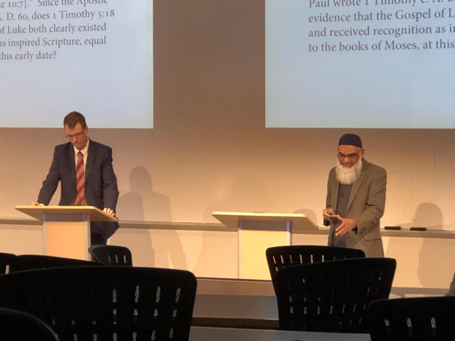 Scholars Thomas Ross and Shabir Ally debate whether the portrayal of the Christian faith figure Jesus Christ was accurate in the Bible. The event was held March 13 in Hyland Hall, Room 2203.