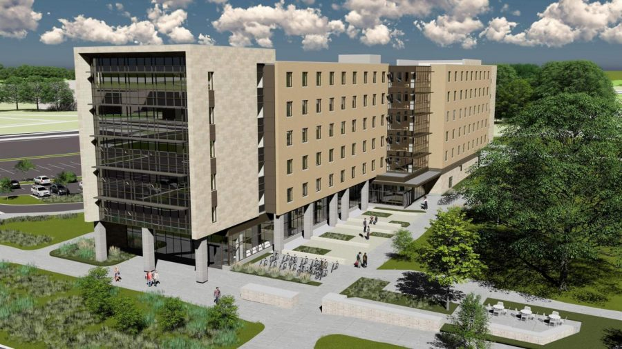 A rendering of the new residence hall being constructed between Goodhue and Fischer Halls. The building is set to open in fall 2019 and will feature pod-style bedroom design.