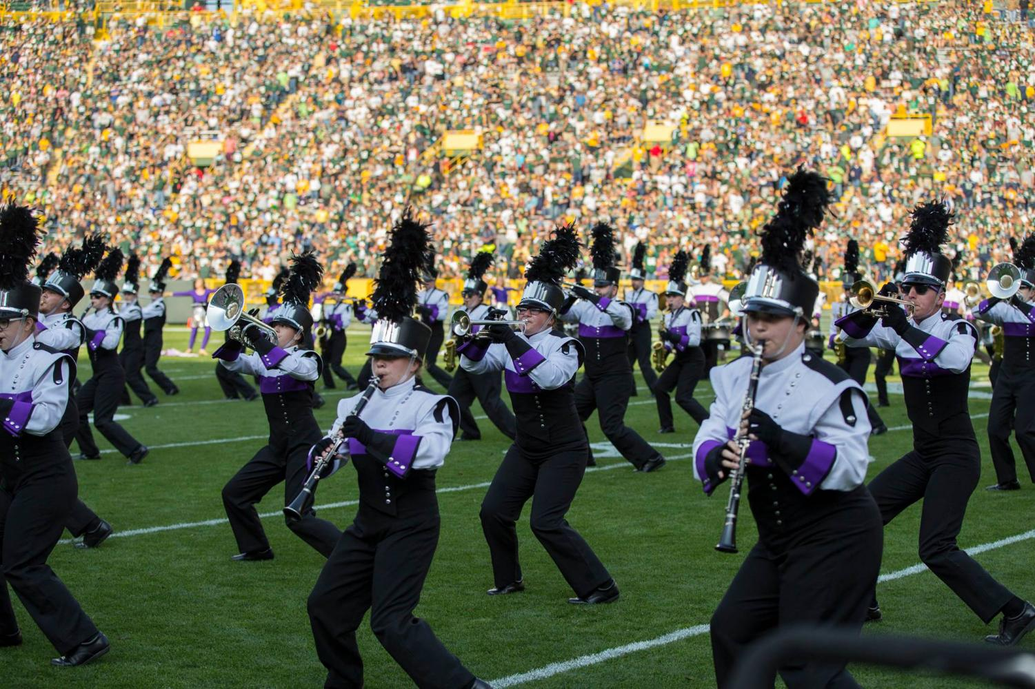 A Sept. 10, 2017 file photo shows the UW-Whitewater Marching Band performing during a halftime show at the Green Bay Packers' 2017 season opening game at Lambeau Field. Last year's theme was based on comic book superheroes.