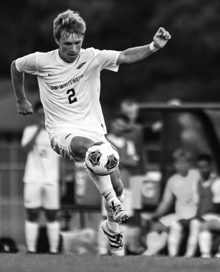 Junior Brad Ludwig plays the ball out from midfield. He has five goals and three assists on the year.