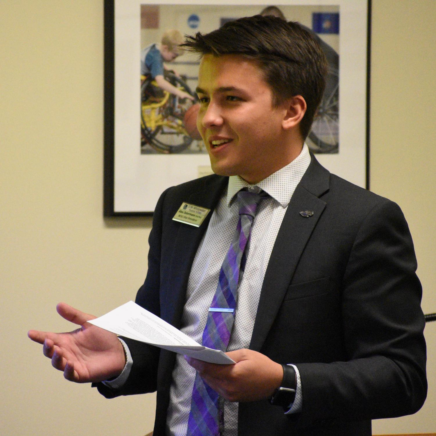 Vice President Alex Ostermann speaks to attendants of the Whitewater Student Government Senate meeting on Monday, Sept. 9.