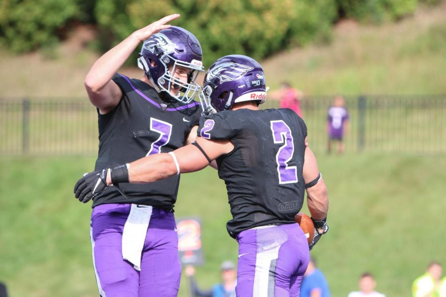 Quarterback%2C+Max+Meylor+and+Running+Back%2C+Ronny+Ponick+celebrate+after+a+play+at+the+Saturday%2C+Sept.+7+game.+The+UW-Whitewater+Warhawks+dominated+the+University+of+Dubuque+Spartans+with+a+final+score+of+42+to+7.+This+marks+the+first+game+and+Warhawk+win+of+the+season.+