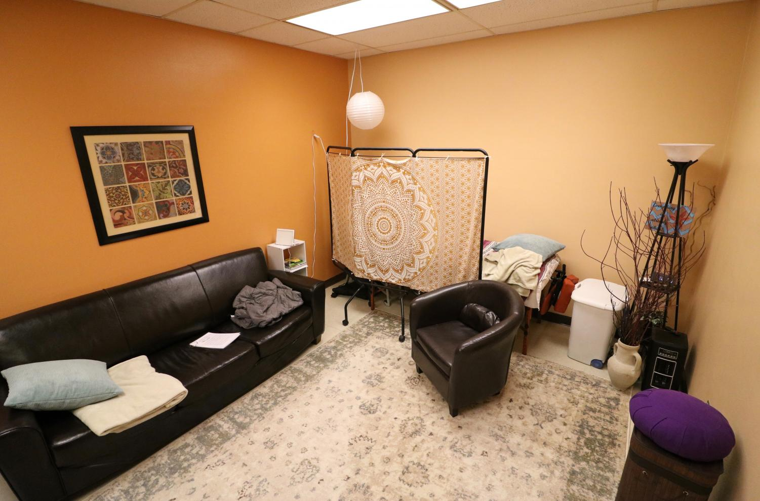 The relaxation room is a spot on campus equipped with comfy chairs, a stereo, blankets and optional light therapy session to keep students safe from stress.