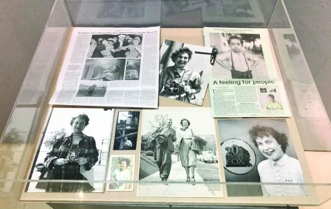Display featuring photos and memorabilia from Wyman's lives.