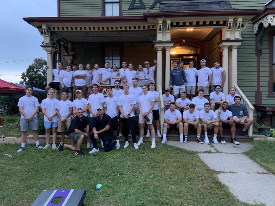 Delta Chi fraternity poses for a picture with new members after their recruitment week.