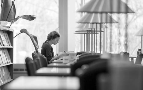 UW-Rock County student Jaimee Swanson works on her homework in the campus library.