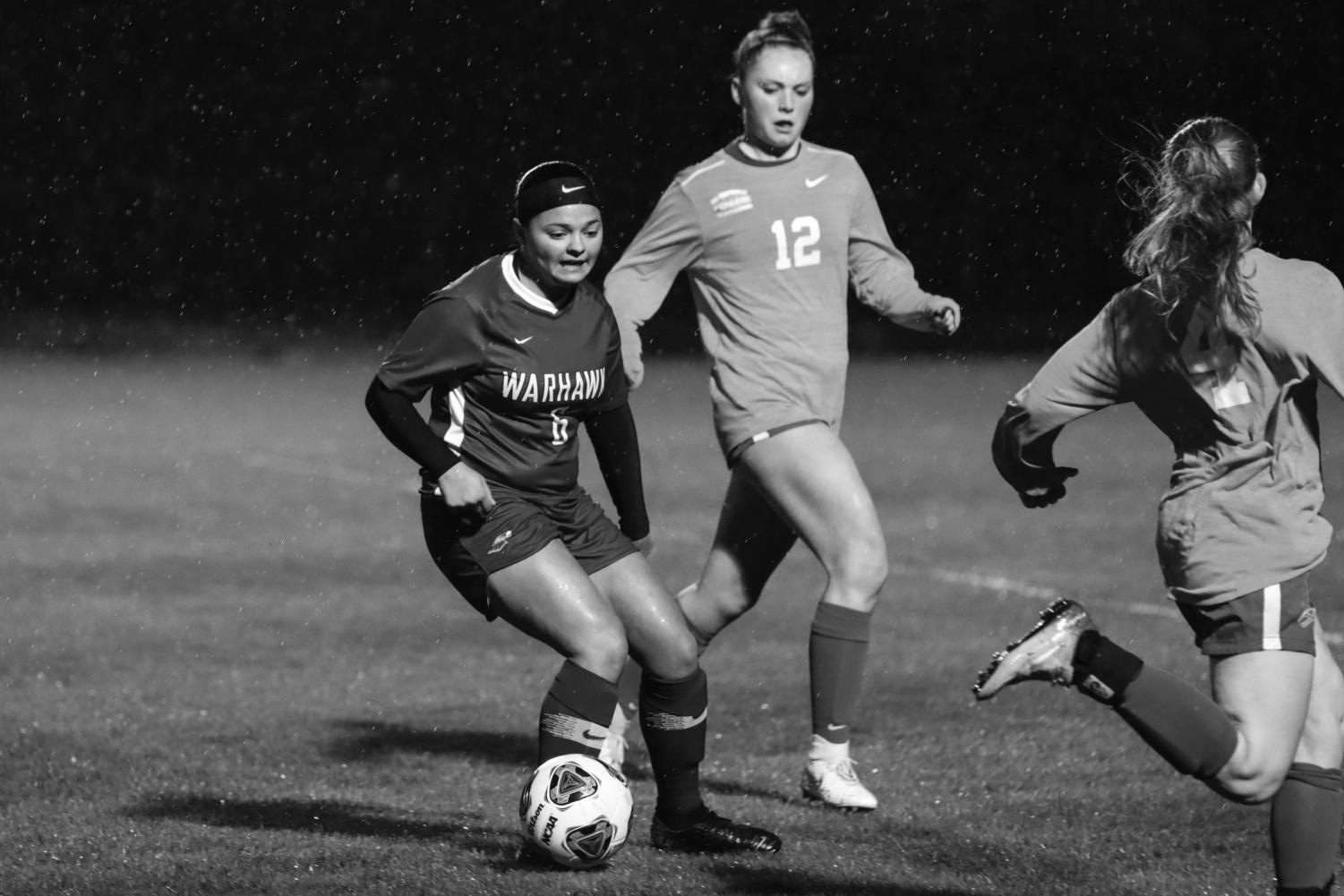 Savannah Curtis breaks away from the defense during a 2-0 win.