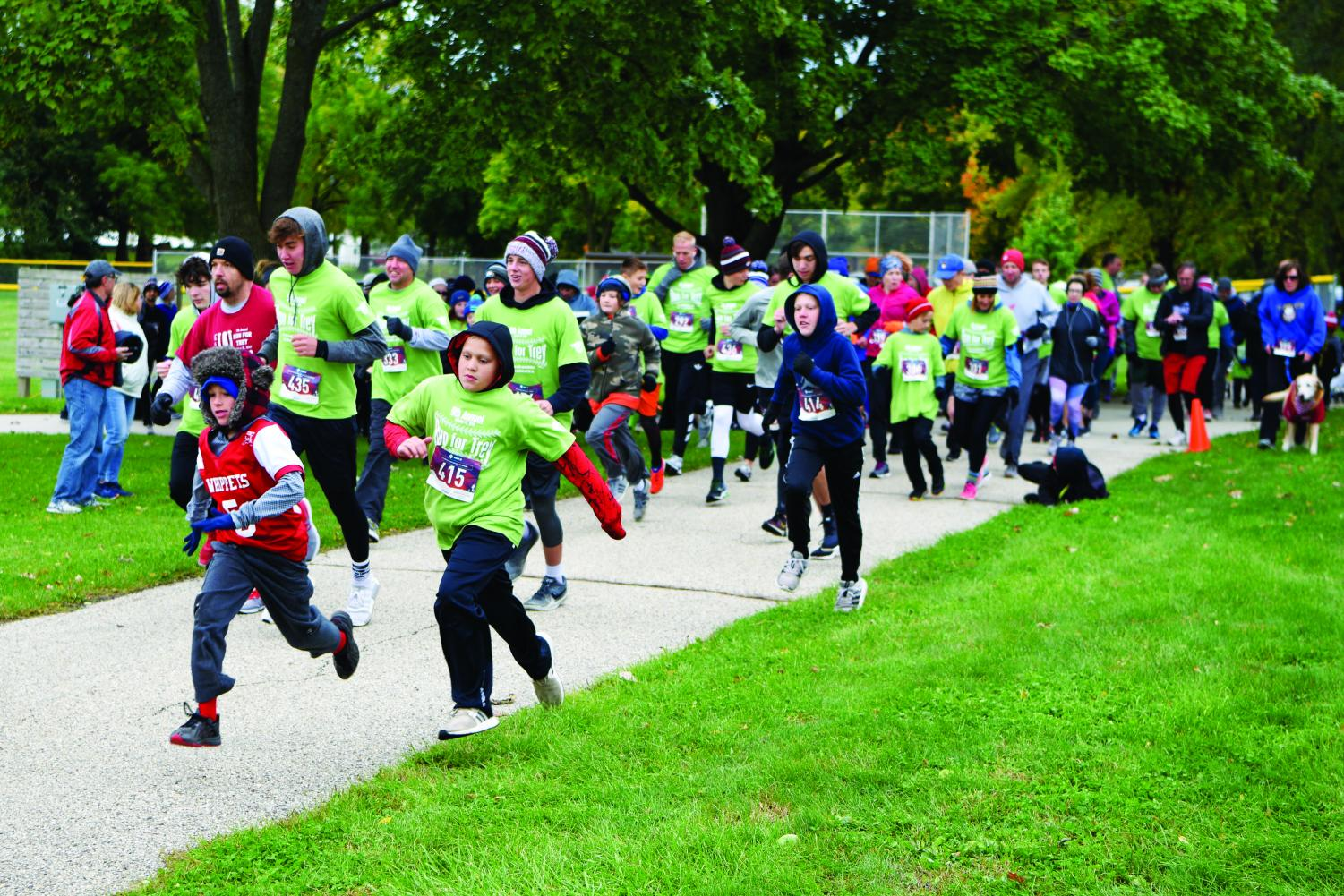 Members of the Whitewater community take part in the Run for Trey event.