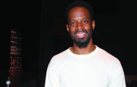 Shaun Booth poses for photograph after his performance, Shaun Boothe: The Unauthorized Biography Series.