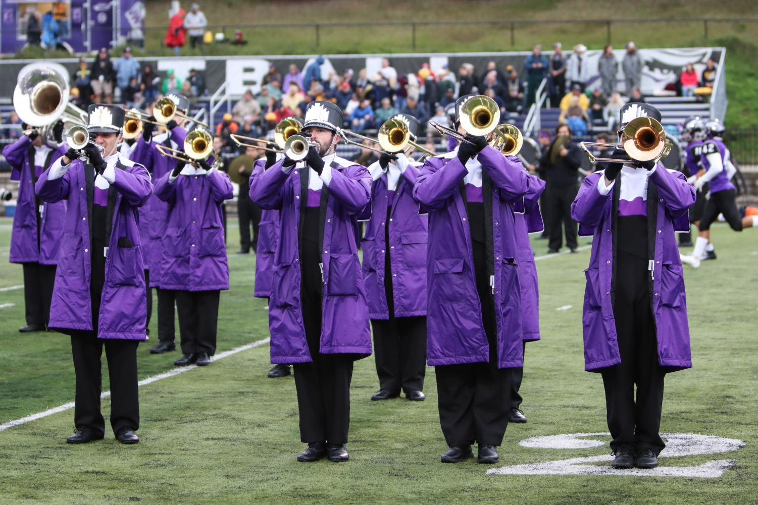 UW-Whitewater marching band performing during pre-game at the UW-Whitewater versus UW-Eau Claire Football game on Oct. 5.