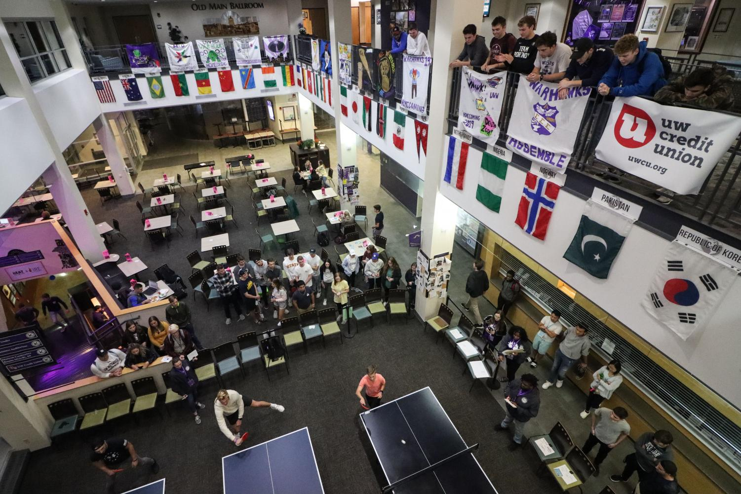Students participate in Indoor Games Night Wednesday, Oct. 9, 2019 in the University Center as part of Homecoming Week.