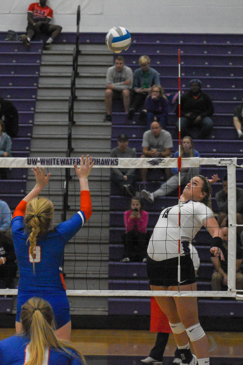 Erin Erb goes up for a kill against UW-Platteville on Tuesday night, Oct. 8.