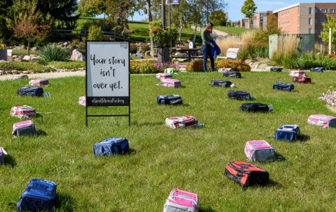 The backpacks represented the amount of students each year who commit suicide.
