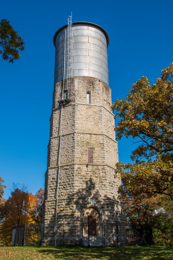 """The water tower, dubbed the """"Witches Tower"""", is one of the spookiest places on campus."""