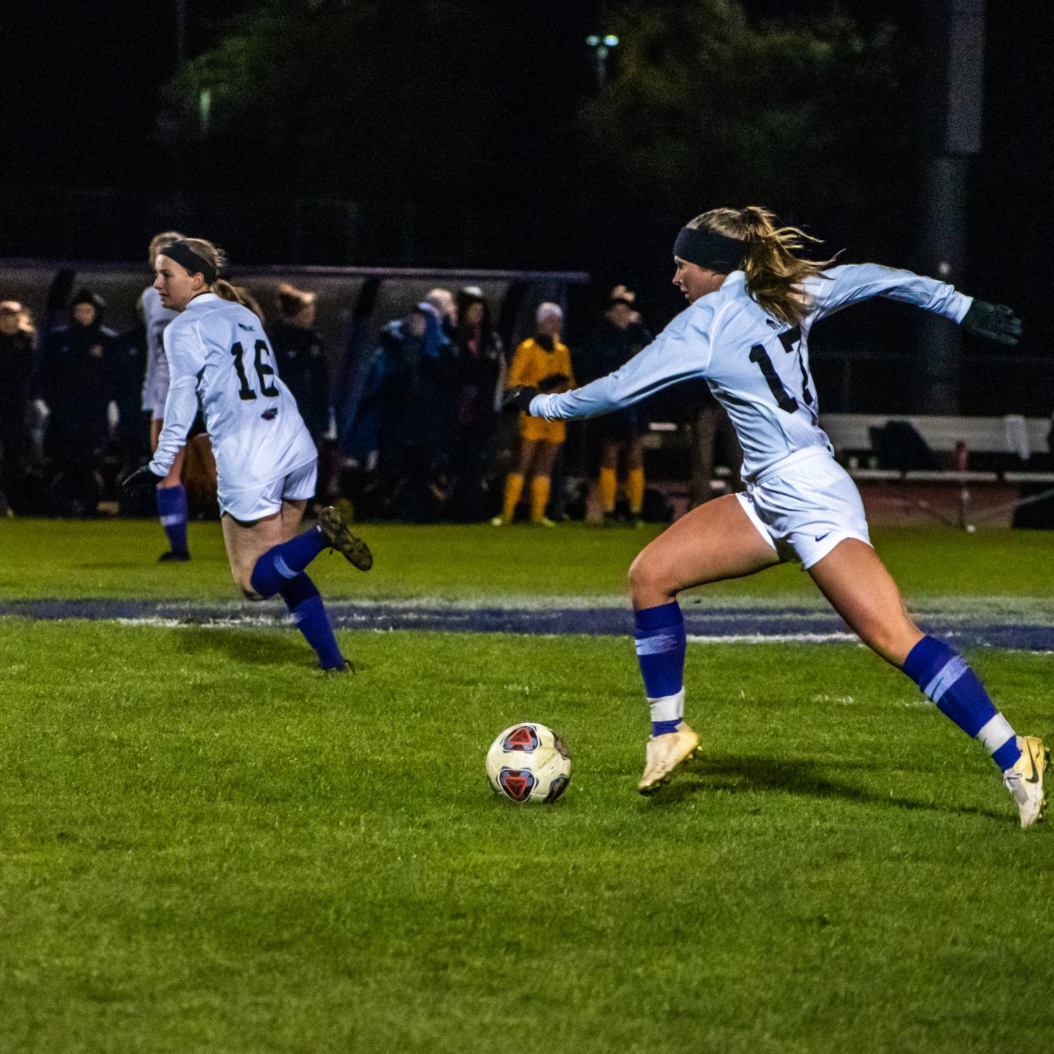 Katie Kusswurm dribbles the ball up the field on Oct. 30 against Eau Claire at Fiskum Field.