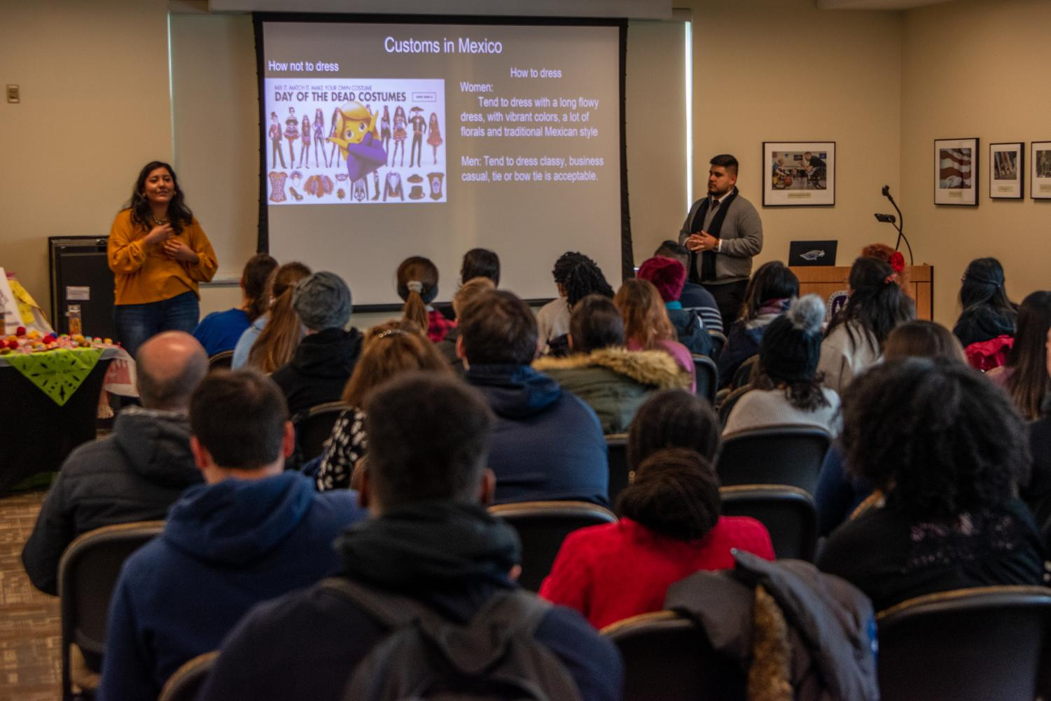 A presentation was given at Dia de los Muertos in the University Center for Latinx Day Heritage.