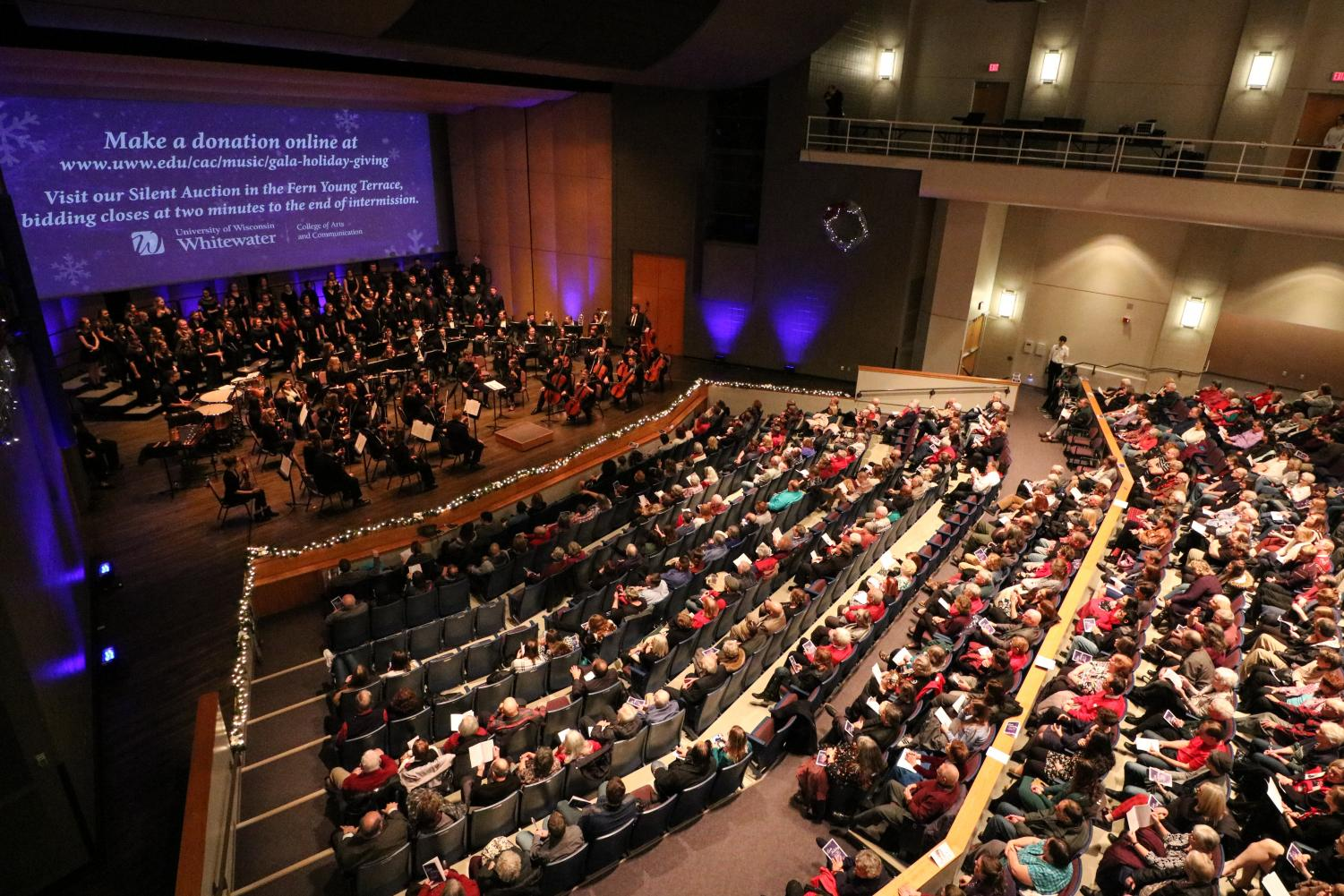 The University of Wisconsin-Whitewater held its Annual Holiday Gala and Concert on Saturday, Dec. 7. The event, held in Young Auditorium, is the premiere concert for the seasonal music offerings.