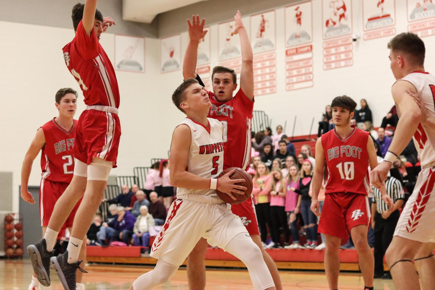 Brock Grosinske drives to the hoop in the game against Big Foot. The Whippets got the win - their second of the week.