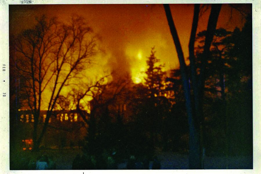 Historical photograph depicts the Feb. 7, 1970 fire that destroyed Old Main Hall.