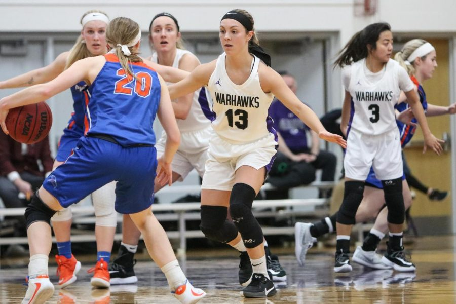 The Warhawks have benefited from strong leadership from Becky Raeder (13)  all season. She'll need synergy with Yssa Sto. Domingo (3) to take down UW-Oshkosh coming up Wednesday, Feb. 19.