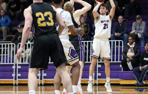 Freshman Austin Gates has been a 3-point threat for the Warhawks all season, and his shot with 2:10 left in the game broke a tie late in the fourth quarter. He finished with a career-high nine points against Platteville.