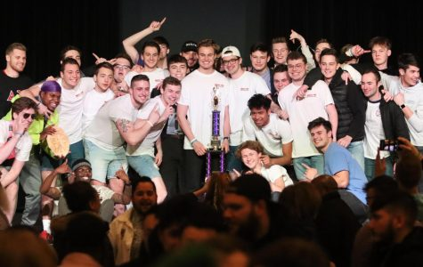 The men of Delta Chi Fraternity pose for a photo after the  announcement of the overall winners for 2020 Greek Week.
