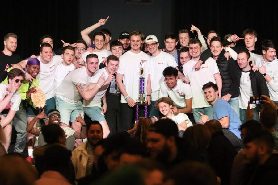 The+men+of+Delta+Chi+Fraternity+pose+for+a+photo+after+the+%0Aannouncement+of+the+overall+winners+for+2020+Greek+Week.
